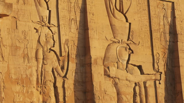 t/l, zo, ws, temple of edfu, egypt - relief carving stock videos & royalty-free footage