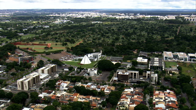templo da boa vontade  - aerial view - federal district, brasília, brazil - brasilia stock videos and b-roll footage