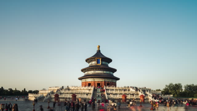 t/l zo temple of heavens (tiantan) against clear sky / beijing, china - temple of heaven stock videos & royalty-free footage