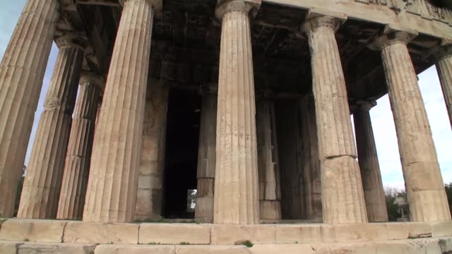 temple of hephaestus in athens - architectural column stock videos & royalty-free footage