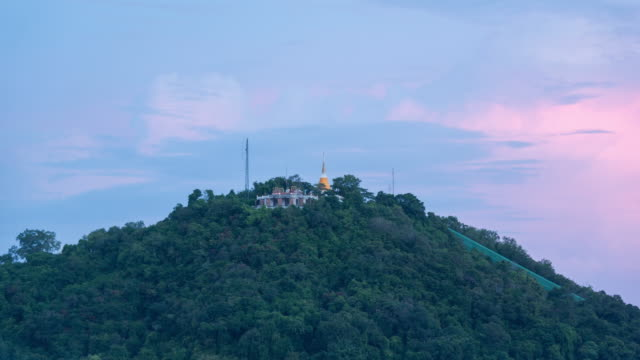 temple on the mountain time lapse night to day - songkhla province stock videos and b-roll footage