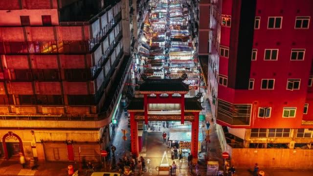 テンプルストリート ナイト マーケット、香港、タイムラプス