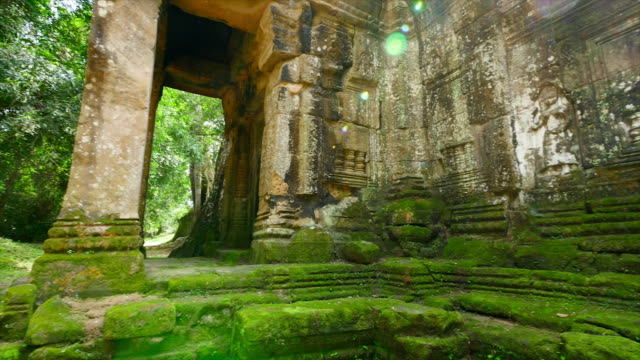 temple walls and rocks with green moss - angkor wat stock videos and b-roll footage