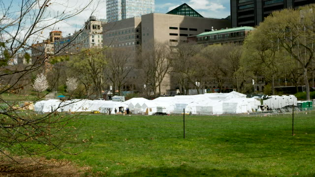 a temporary hospital built by samaritan's purse an evangelical christian humanitarian aid organization on the east meadow lawn of manhattan's central... - central park manhattan stock videos & royalty-free footage