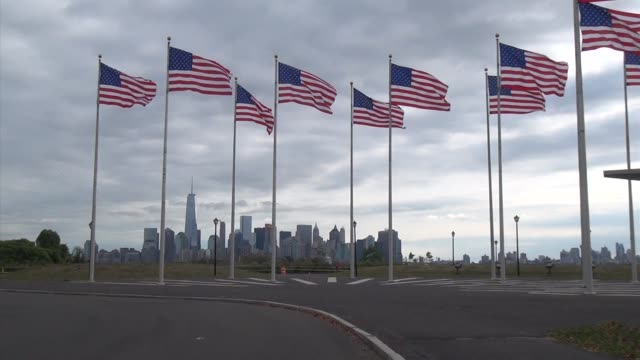 Ten American flags wave in the Flag Field at Liberty State Park in Jersey City NJ
