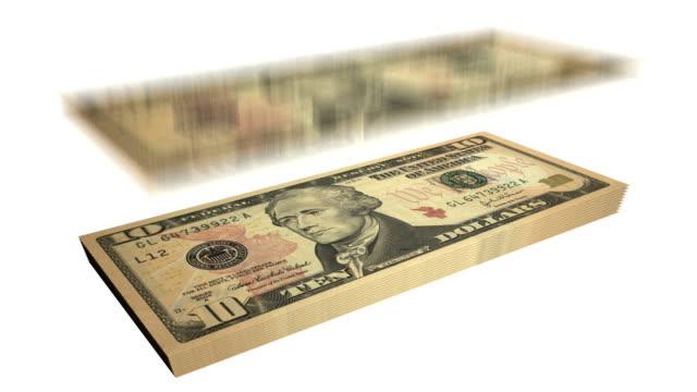 banconota da dieci dollari banconote-cadere dal cielo - banconota da 10 dollari statunitensi video stock e b–roll