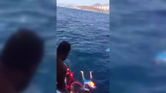 ten illegal immigrants including two children were rescued by cruise boat staff in aegean sea as their boat sank after sailing from turkey's... - mittelmeer stock-videos und b-roll-filmmaterial