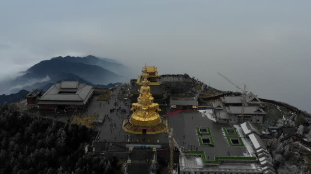 ten sides of puxian statue and buddhist temple on mount emei, chengdu, china - buddha stock videos & royalty-free footage