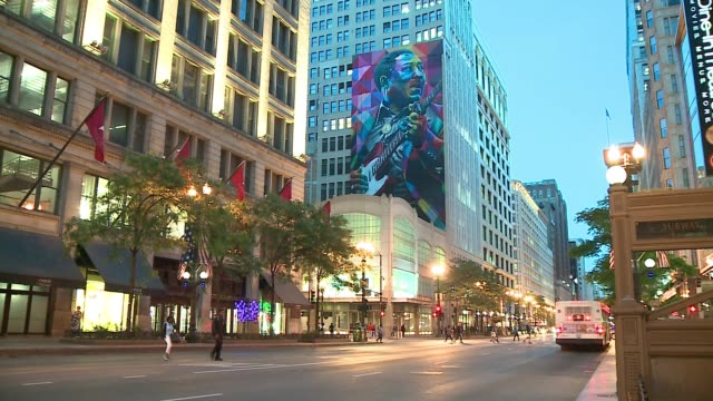 wgn ten story mural of blues icon muddy waters at state and washington painted by brazilian artist eduardo kobra in 2016 on june 7 2017the day of its... - blues stock videos & royalty-free footage