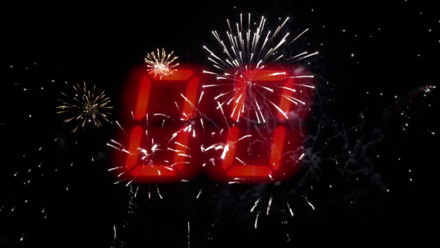 ten to zero countdown and fireworks. - number 8 stock videos & royalty-free footage
