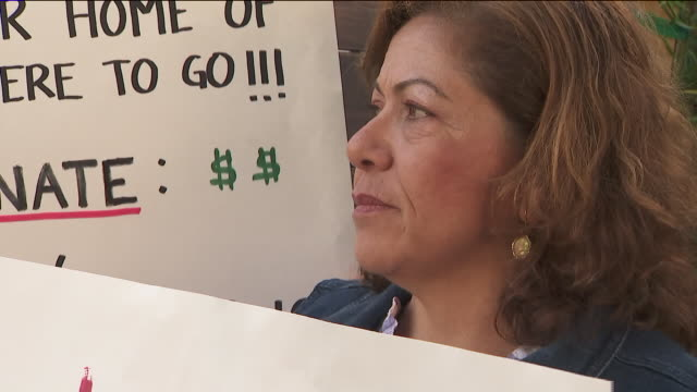 ktla tenant and supporters protest eviction - tenant stock videos & royalty-free footage
