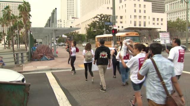 tenant strike in downtown los angeles - tenant stock videos & royalty-free footage