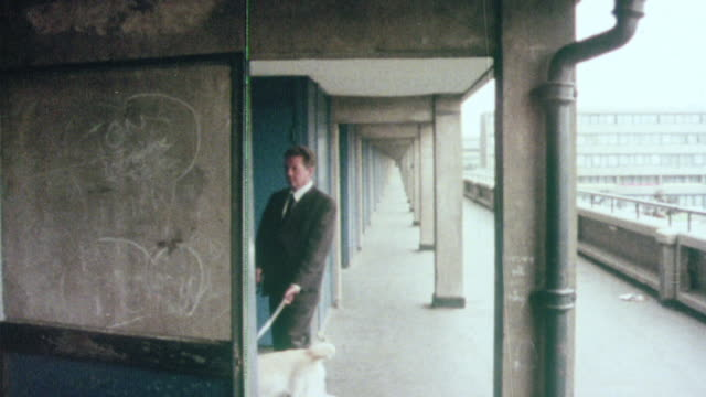 1976 montage tenant with guide dog maneuvering a maze of floors, hallways and stairwells in tenement high-rise building / united kingdom - blindness stock videos & royalty-free footage