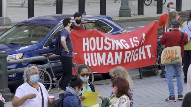 tenants and housing activist march in downtown manhattan demanding that ny governor cuomo #cancelrent and #evictionfreeny on thursday october 1,... - housing difficulties stock videos & royalty-free footage