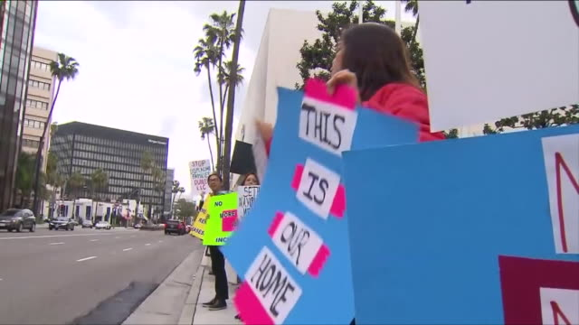 ktla tenants of boyle heights building protest rent increase - tenant stock videos & royalty-free footage