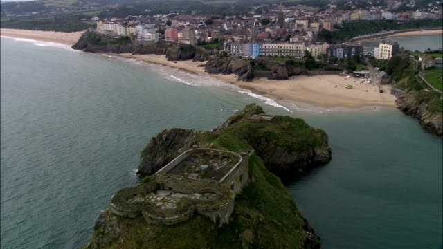 tenby  - aerial view - wales, county of pembrokeshire, tenby, united kingdom - pembrokeshire stock videos and b-roll footage