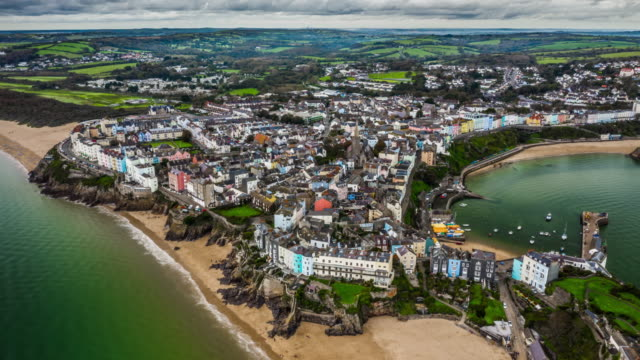 tenby inpembrokeshire, wales - aerial hyperlapse - pembroke stock videos & royalty-free footage