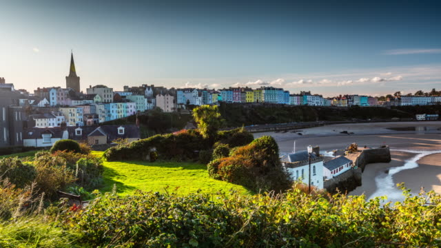 tenby townscape in pembrokeshire, wales - uk - pembroke stock videos & royalty-free footage