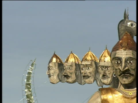 ten-headed effigy of ravanna made to be burned during dussehra celebrations - effigy stock videos & royalty-free footage