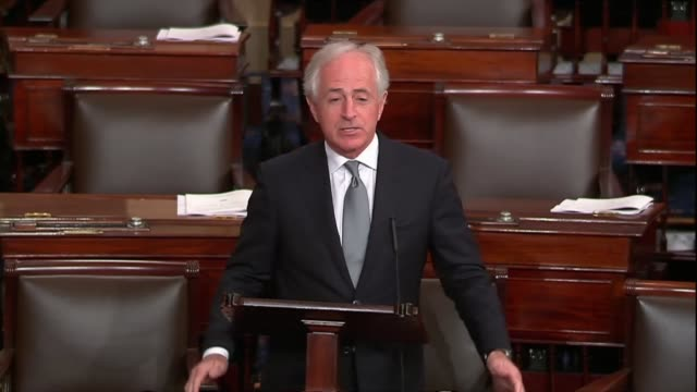 vídeos de stock e filmes b-roll de tennessee senator bob corker says as a sixmonth spending bill neared that somehow negotiations had increased pay spending by $150 billion over 10... - atividade comercial