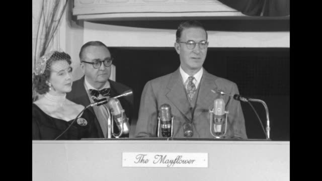 tennessee senator estes kefauver with wife nancy standing beside him gives speech at democratic headquarters at the mayflower hotel on election night... - adlai stevenson ii stock videos and b-roll footage