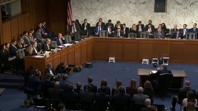 Tennessee Senator Marsha Blackburn asks Attorney General nominee William Barr at his nomination hearing in the Senate Judiciary Committee about his...
