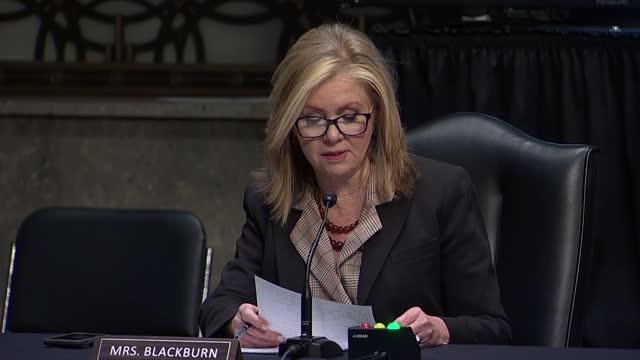 tennessee senator marsha blackburn says at a senate judiciary committee hearing on social media suppression that it was fair to say that facebook... - 創始者点の映像素材/bロール