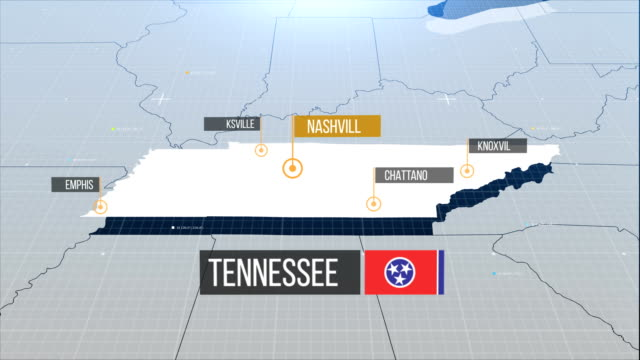 tennessee  state map - tennessee video stock e b–roll
