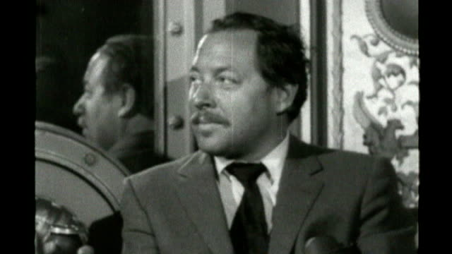 tennessee williams 'lost play' staged by london theatre; tx 8.4.57 - s23010701 b/w footage tennessee williams interviewed by ludovic kennedy sot - ludovic kennedy stock videos & royalty-free footage