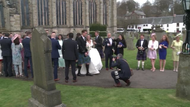 tennis ace andy murray married his long-term girlfriend kim sears at dunblane's 12th century cathedral on saturday, bringing his scottish hometown to... - dunblane stock videos & royalty-free footage