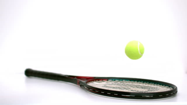 tennis ball bouncing on a racket - ball stock videos and b-roll footage