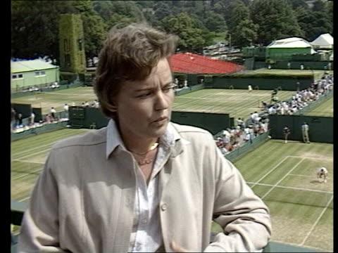 "london: wimbledon: 2 shot barbara wancke cms barbara wancke, international tennis federation, intvw sof: ""coaches are in -- problem escalates."" - international tennis federation stock videos & royalty-free footage"