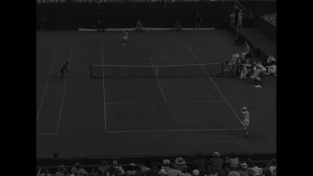 tennis court during davis cup match / crowd watches from stands / high angle of match in progress, player leaps net to congratulate winner at end /... - davis cup stock-videos und b-roll-filmmaterial