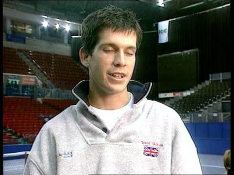 Davis Cup ENGLAND Birmingham Indoor Arena TGV practice match in progress in deserted stadium Tim Henman practising Henman interview SOT important to...