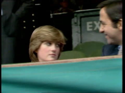 Lady Diana attends Wimbledon Lady Diana Spencer seated in stands alongside King Constantine ENG ITN 20secs