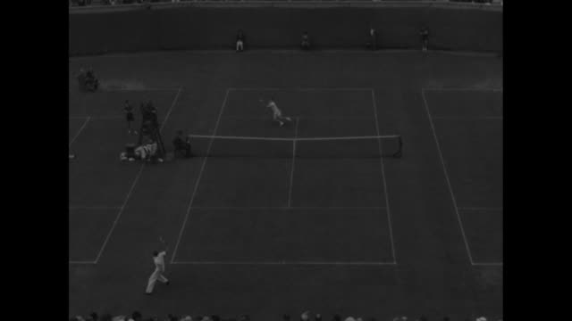 tennis match in progress between donald mcneill and bobby riggs at west side tennis club riggs in far court makes point during match at the us... - flushing meadows corona park stock videos and b-roll footage