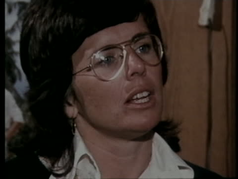 tennis player billie jean king talks about the rise in the popularity of tennis. - sport stock videos & royalty-free footage