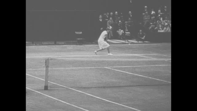 tennis player helen jacobs / jacobs, at wimbledon, playing german opponent hilde krahwinkel sperling / jacobs wins - international tennis federation stock videos & royalty-free footage