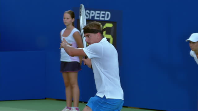 tennis player hitting a forehand - tennis stock videos & royalty-free footage