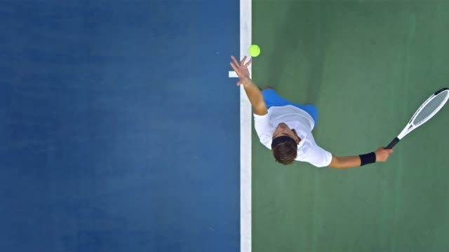 tennis player serving the ball - professional sportsperson stock videos & royalty-free footage
