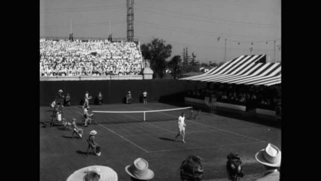tennis players playing during match on tennis court at forest hills stadium - 30 seconds or greater stock videos & royalty-free footage
