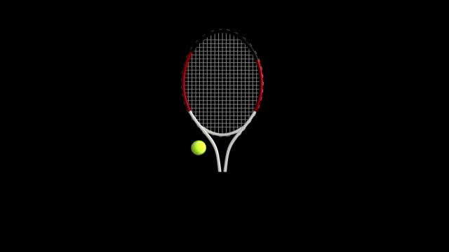 tennis racket&tennis ball rotating loop isolated with luma matte - racket stock videos and b-roll footage