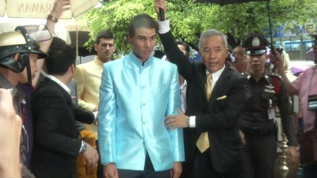 Tennis stars Novak Djokovic and Rafael Nadal arrive at Erawan Shrine in Bangkok Thailand Erawan was the scene of a bombing which killed 20 people