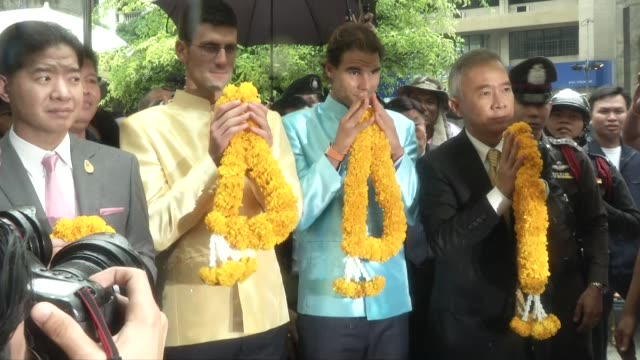 Tennis stars Novak Djokovic and Rafael Nadal visit Erawan Shrine in Bangkok Thailand Erawan was the scene of a bombing which killed 20 people
