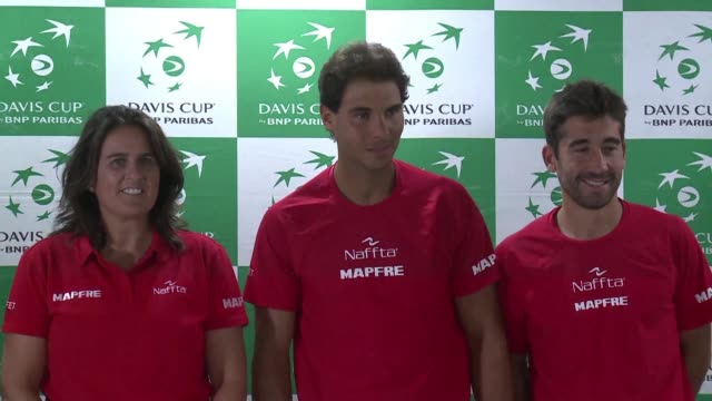 tennis world number five rafael nadal said he's happy to be on tour again after a few 'tough months during a press conference tuesday ahead of the... - davis cup stock videos & royalty-free footage