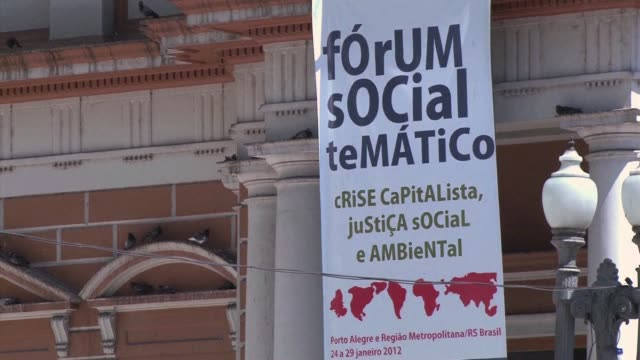 tens of thousands of anticapitalist militants including members of spain's 'indignant' movement and the us occupy wall street are due to attend the... - alegre stock-videos und b-roll-filmmaterial