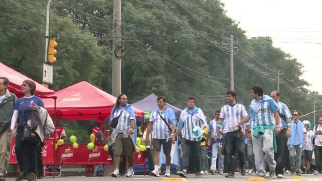 Tens of thousands of Argentinian fans have descended on Porto Alegre ahead of their final World Cup group match against Nigeria