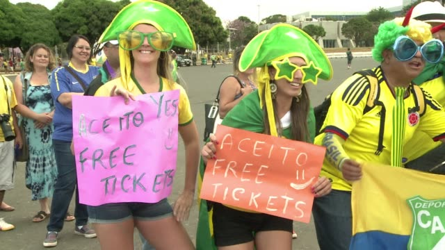 tens of thousands of brazil fans are arriving at the mane garrincha stadium in the countrys capital ahead of the third place play off against the... - oranje stock videos & royalty-free footage