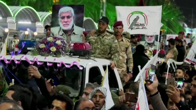 tens of thousands of iraqis chant death to america in the city of karbala during a mass ceremony dedicated to iran's major general qasem soleimani... - karbala stock videos & royalty-free footage