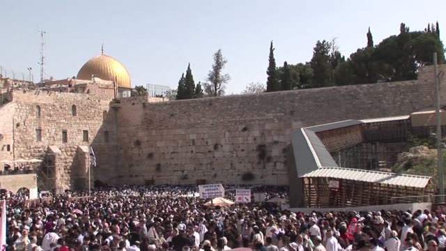 tens of thousands of jewish israelis flocked on monday to the wailing wall judaism's holiest place to be blessed by their priests as part of the... - biblical event stock videos & royalty-free footage